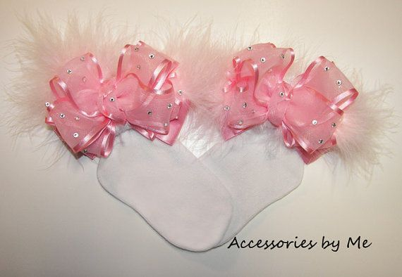 Glitz Pageant Bow Socks Light Pink Embellished by accessoriesbyme, $34.99