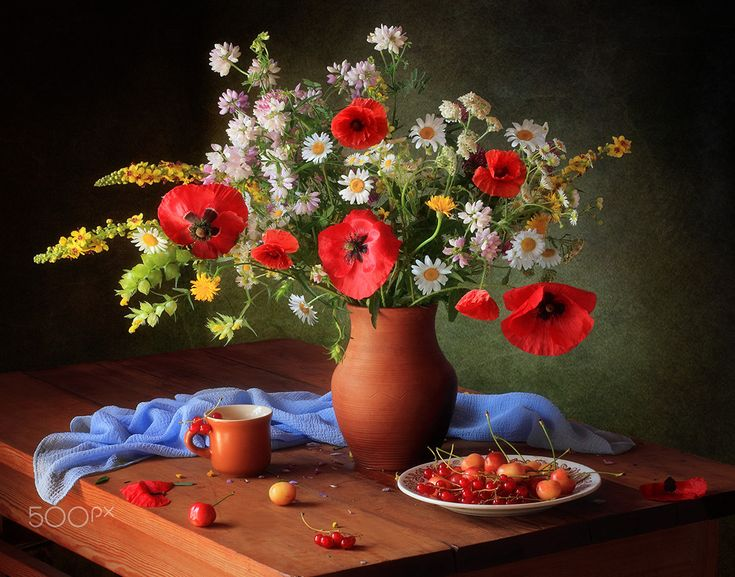 Still life with a bouquet of meadow flowers - null