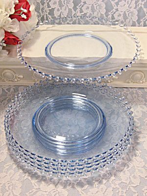 Imperial Glass Viennese Blue Candlewick Lunch Plate