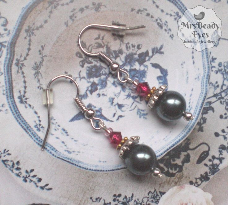 Grey pearl earrings Grey ruby earrings Victorian pearl earrings Vintage style earrings Swarovski pearl earrings Boho pearl earrings by MrsBeadyEyes on Etsy
