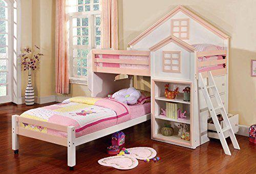 Citadel House Design White & Pink Finish Dual Twin Size Loft Bed Set