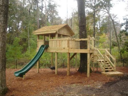 Custom Tree Fort w/ Zip Line & 14' Super Slide