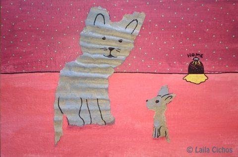 """Cat - mouse conversation"". Mixed media on paper. Mixed media på papir."