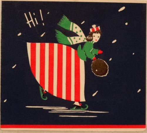#1321 40s Ice Skating Lady w/ Striped Skirt-Vintage Christmas Greeting Card