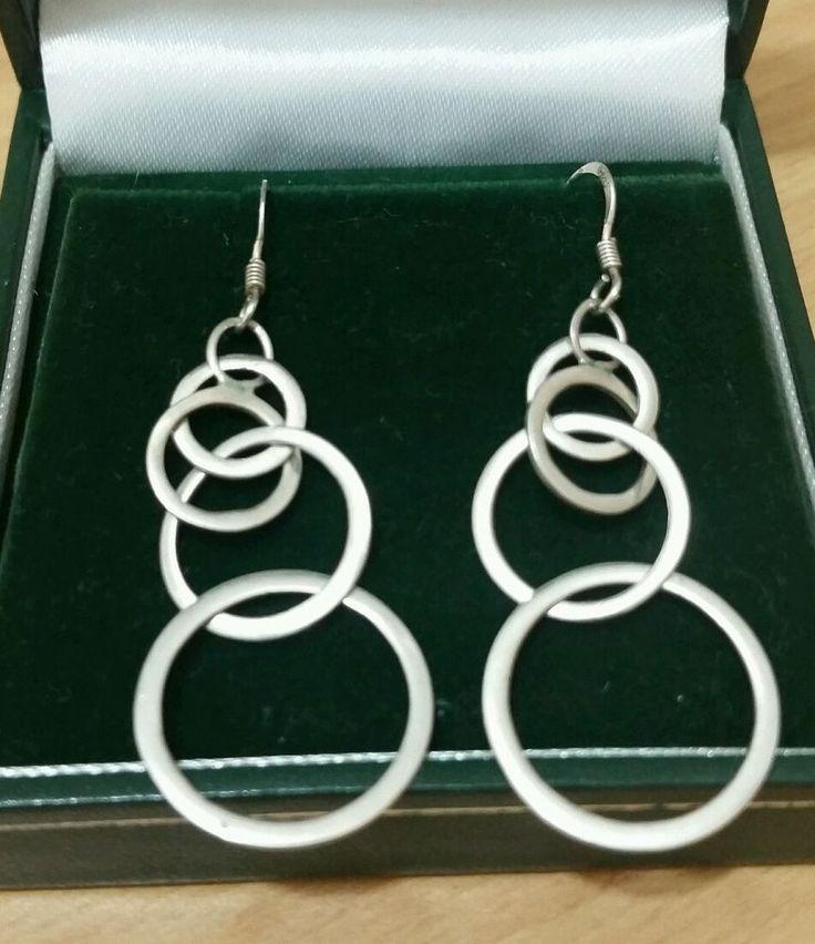 925 STERLING SOLID SILVER DROP EARRINGS, GRADUATING CIRCLES in Jewellery & Watches, Fine Jewellery, Fine Earrings | eBay