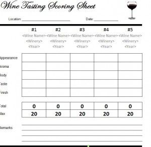 Wine tasting scorecard free printable template http for Wine tasting sheet template
