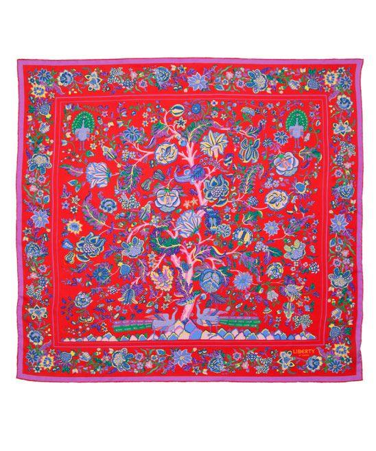 LIBERTY LONDON, RED TREE OF LIFE PRINT SILK SCARF, £150.00. #LibertyScarves