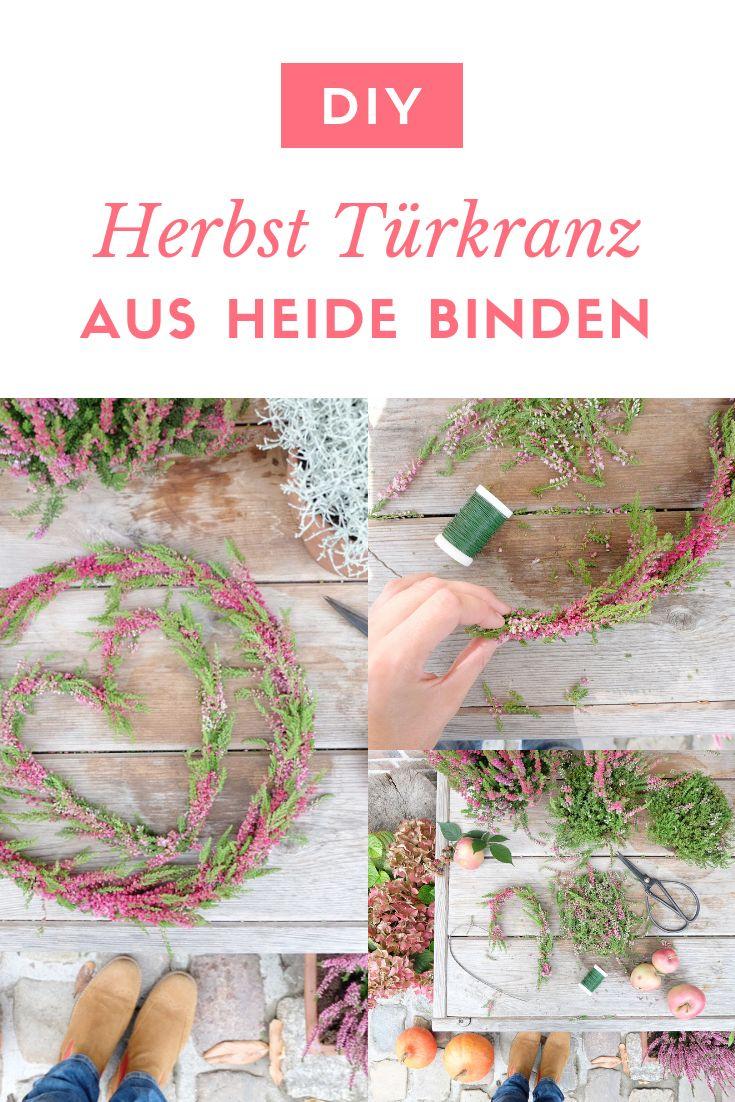 Ein Türkranz aus Heide zum Herbstanfang