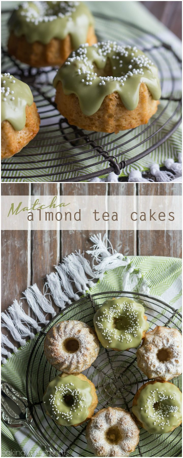 These almond tea cakes came together in a snap, with healthier ingredients like almonds, coconut oil, and einkorn flour. The matcha glaze on top is perfection!