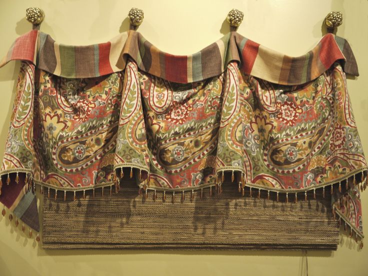 This is the most popular window treatment in our store. This is a cuffed valance on decorative medallions with beaded trim on the button. http://www.karensfabrics.com/