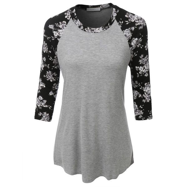 LE3NO Womens Ultrasoft 3/4 Sleeve Floral Graphic Baseball Tee ($25) ❤ liked on Polyvore featuring tops, t-shirts, baseball tshirt, graphic tees, pineapple t shirt, distressed graphic tees and 3/4 sleeve tee