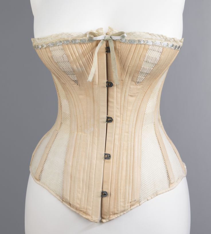1885, America - Corset by Madame Warren's - Cotton, metal, bone, silk