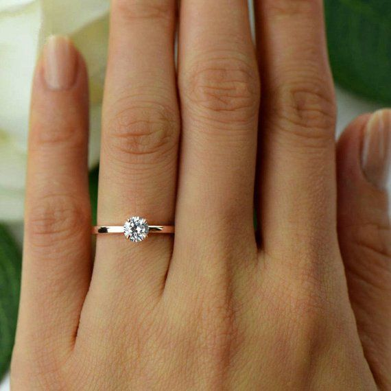 More sizes! 1/2 ct Promise Ring, Engagement Ring, Round Solitaire Ring, Man Made Diamond Simulant, Sterling Silver, Rose Gold Plated