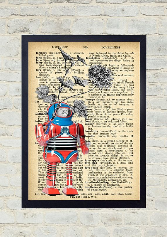 Vintage Dictionary Art Print. The robot. Original Artwork. Old paper print. Vintage Illustration poster. Home wall Decor. Collage.
