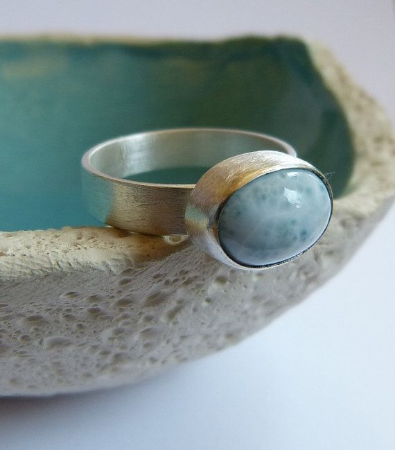 Larimar Sterling silver ring handmade metalwork natural by Mirma, $69.00