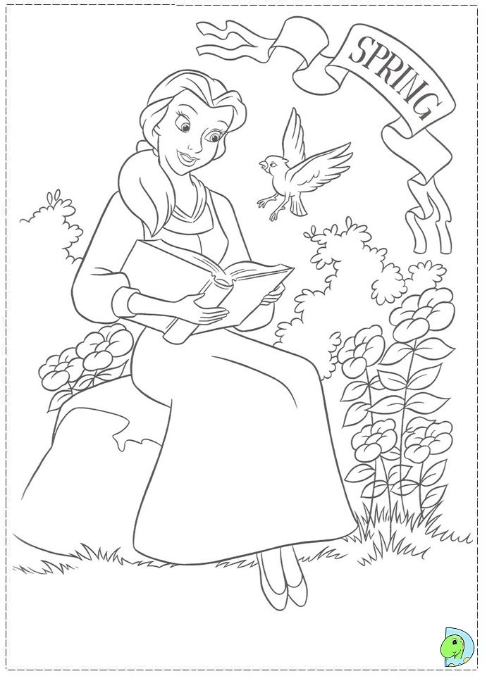 Belle Reading In Garden Disney Princess Coloring Page