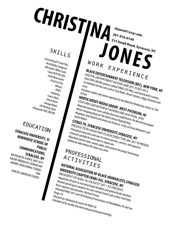 Resume - I know, this format's only useful in special situations. But I love this.