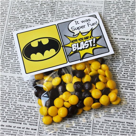 "Superhero Collection. BATMAN Favor Tag (5"" wide fold over). DIGITAL DOWNLOAD. DiY Printable Design. Pinkadot Shop on Etsy, $5.00"