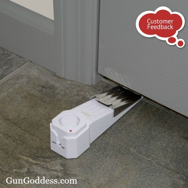 """""""I feel safer. This door stop alarm will scare off intruder within first 1/2 inch of door opening, then stop opening door so they can't come into house. I am very pleased. My single girlfriend was using a chair on the door in her condo but, now uses the door stop alarm I gave her. I will buy more.."""" ~ Norma  SABRE Gatekeeper doorstop alarm"""