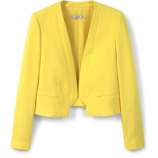 MANGO Crop Jacket (£56) ❤ liked on Polyvore featuring outerwear, jackets, lined jacket, yellow crop jacket, yellow jacket, mango jacket and long sleeve jacket
