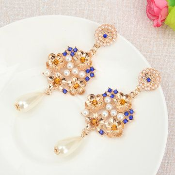 Vintage Exaggerated Sexy Pearl Ear Drop Rhinestone Earrings at Banggood