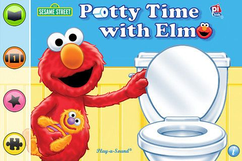 I'm somewhat convinced that the Elmo Potty Time DVD taught my kids to use the toilet. So I was really excited to see the Potty Time With Elmo app ($3). Based on the book, rather than the DVD, the app includes the story of Elmo teaching his doll how and