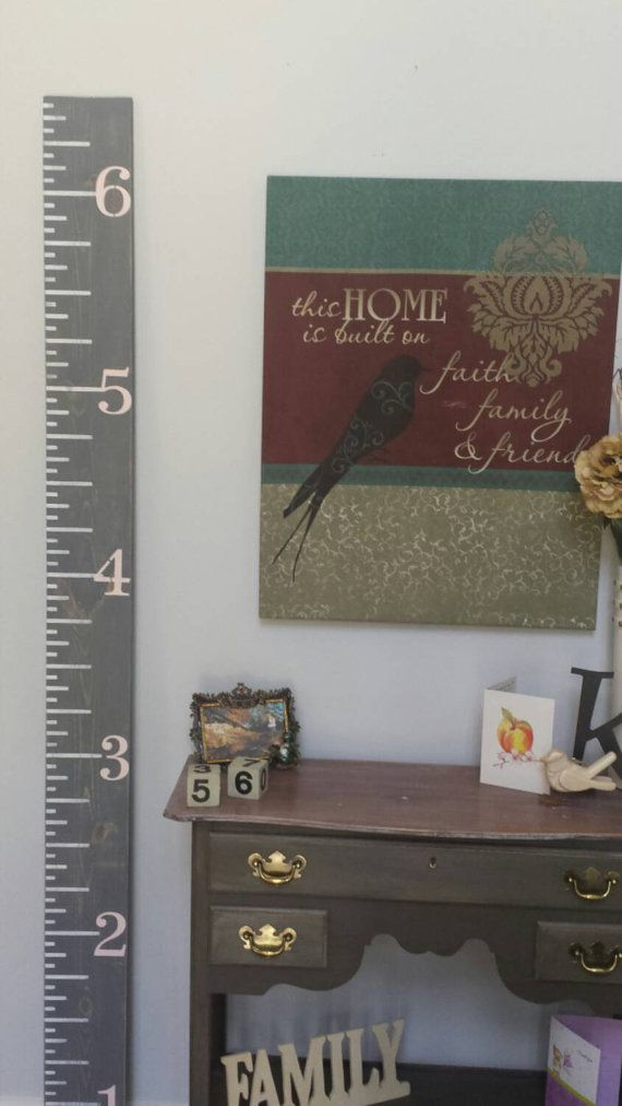 Growth chart ruler- Growth Chart finished in gray stain with pale pink numbers- Wood Growth Chart- Gift Idea for little girls
