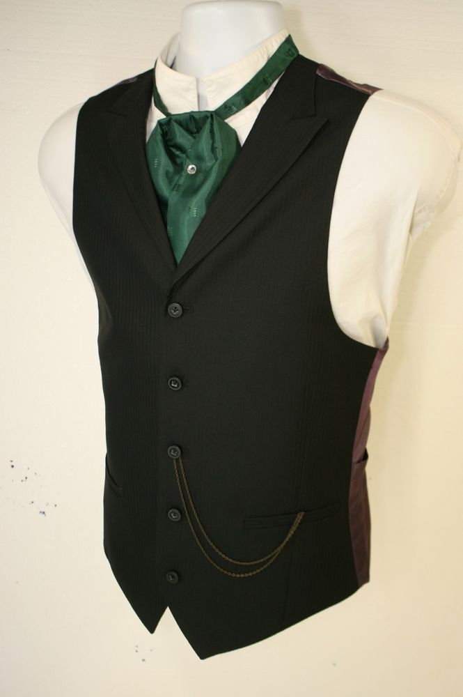 Undertakers Notched Lapel Black Vest Cowboy Steampunk (Mens M 42) SASS 2890 #JFerrar
