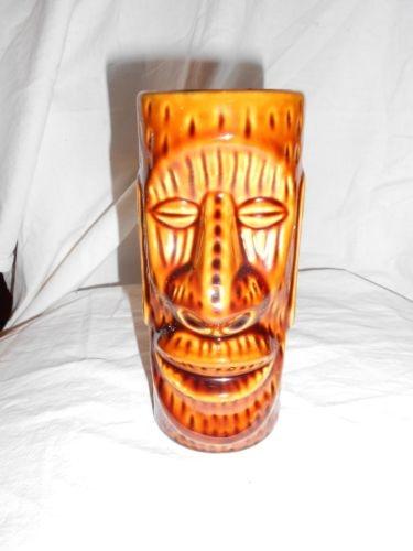 Vintage tiki ceramic mug kahiki mug NO.1 Columbus Ohio brown cup face TIKI GLASS