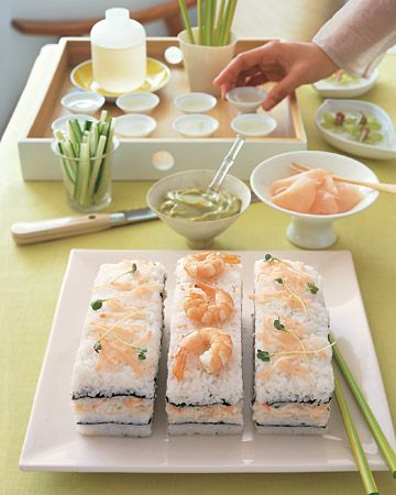 Shrimp & Crabmeat Sushi Cake ... so much easier than making rolls!  Can make-ahead for a party.  {Martha Stewart}