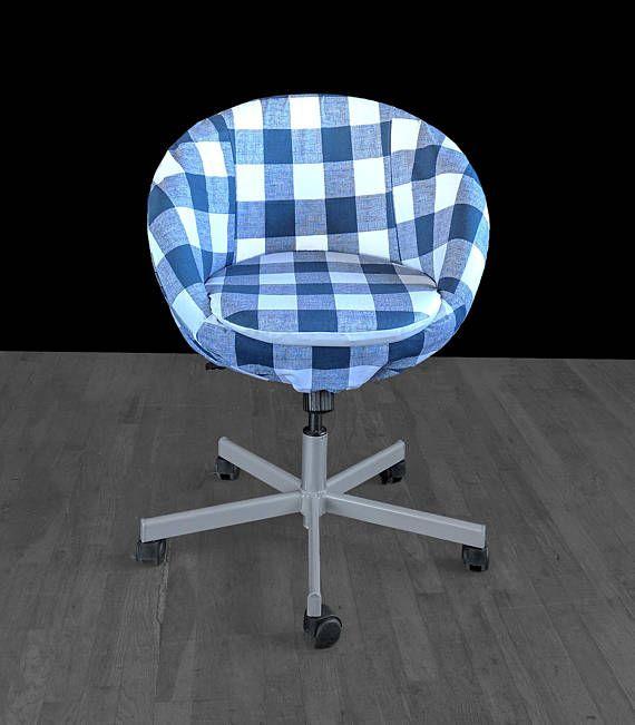 Navy Blue Buffalo Check Plaid Gingham IKEA SKRUVSTA Chair