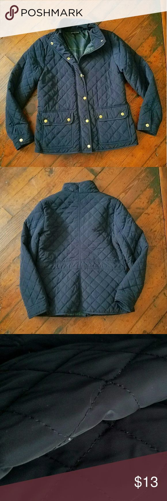 British Khaki Jacket Quilted pattern navy jacket. Worn only a few times and in good condition with minor pilling. Cozy and warm. Zips and buttons with 2 pockets. Measurements: Bust 48 in Waist 42 in Length 26 in British Khaki Jackets & Coats