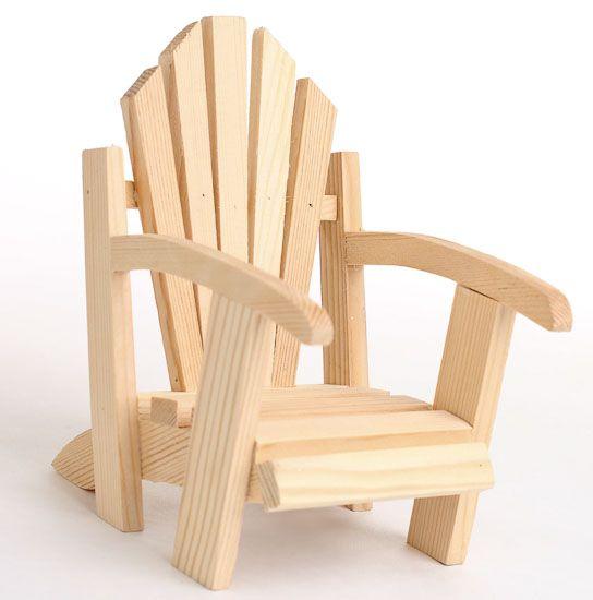 Mini Wood Adirondack Chair Miniature Beach Houses And