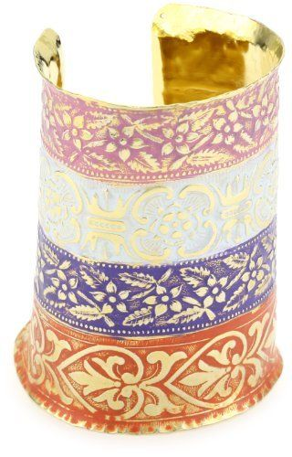Sibilia Palacio Mix Colors Over 24K Gold Plated Cuff Bracelet Sibilia. $168.00. Made in Argentina. Items that are handmade may vary in size, shape and color. Orange violet white and rose pigments over 24k gold plated, inspired by bizantine art