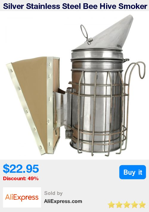 Silver Stainless Steel Bee Hive Smoker Heat Shield Apiary Fogger Queen Bee Garden Orchard Apiculture Beekeeping Tools Equipment * Pub Date: 02:19 Jul 7 2017