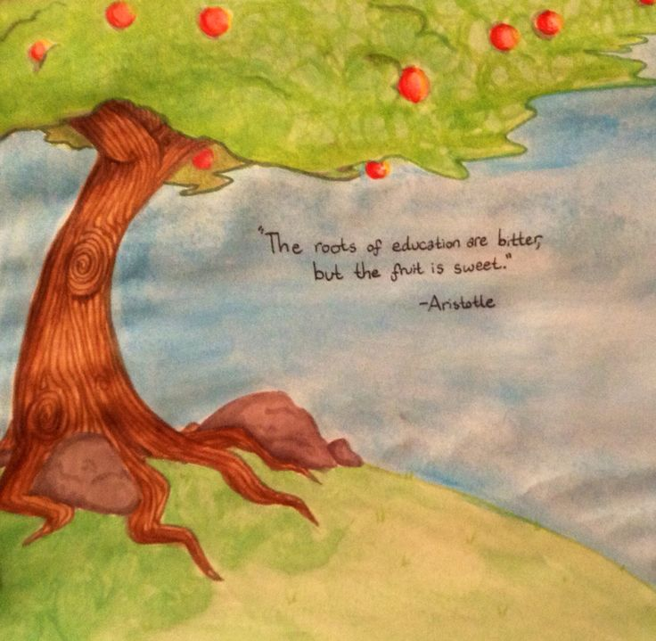 An apple tree with gnarled roots with a nice quote by
