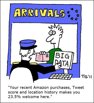 """A cartoon featuring a man with a passport arriving at a desk with a custom's agent. On the agent's screen it says """"Big Data"""" and the caption reads """"Your recent Amazon purchases, Tweet score and location history makes you 23.5% welcome here."""""""