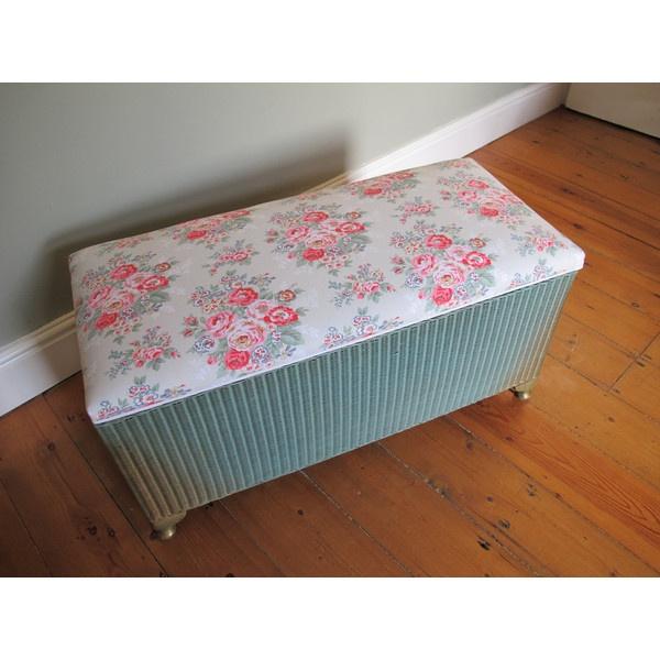 Vintage 50s English Original Lloyd Loom Ottoman Blanket Chest Box - Cath Kidston - Upcycled (£125) found on Polyvore