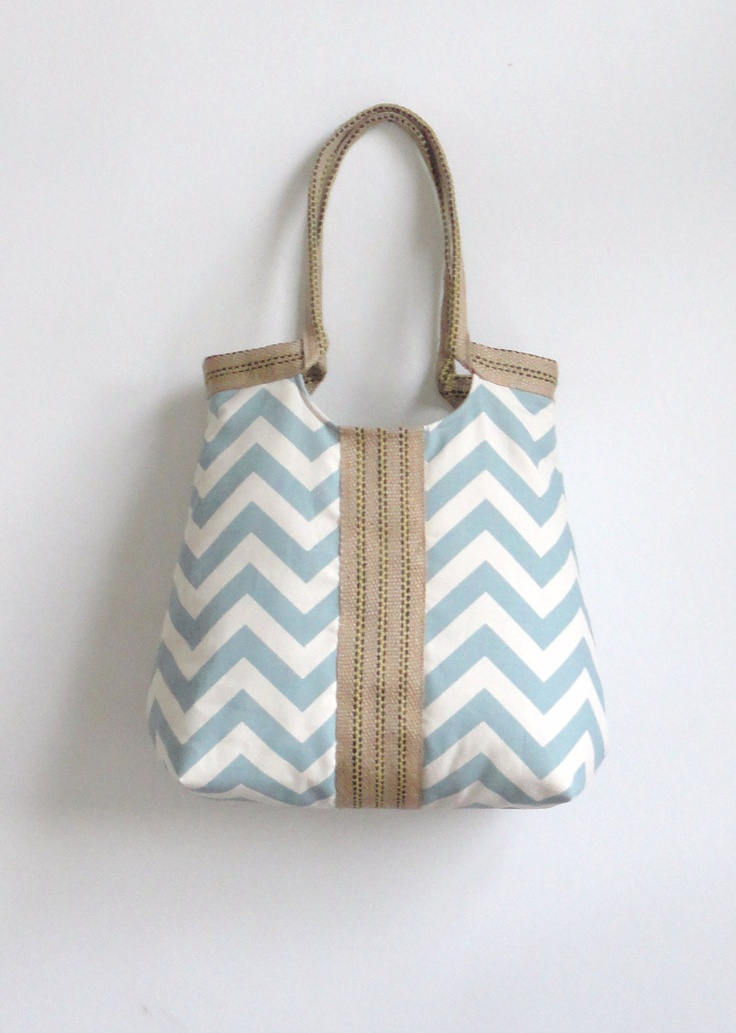 Blue chevron carry on hobo bag with burlap by madebynanna on Etsy, $65.00. Obsessed with this etsy shop. I love every bag!!!