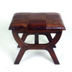 Faux Leather Rectangular Wood Stool