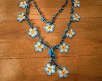 beaded necklace jewelry poppy crochet necklaceoya by SenasShop