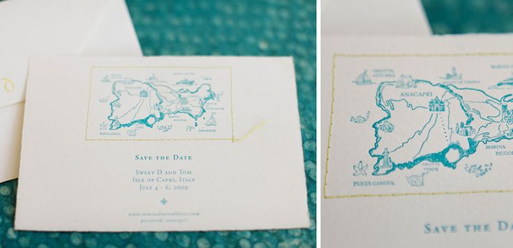 we love the stitched border on the custom letterpress map for this save the date for a Caribbean wedding.