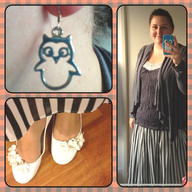 What I'm wearing today | Wednesday July 11th 2012 • Top - Best & Less • Jacket - Kmart • Skirt - Asos • Earrings - Hardtofind.com.au • Shoes - Target