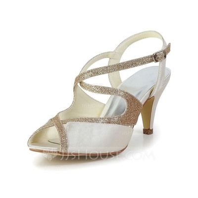 Wedding Shoes - $59.99 - Women's Satin Cone Heel Peep Toe Sandals Slingbacks With Sparkling Glitter (047034351) http://jjshouse.com/Women-S-Satin-Cone-Heel-Peep-Toe-Sandals-Slingbacks-With-Sparkling-Glitter-047034351-g34351