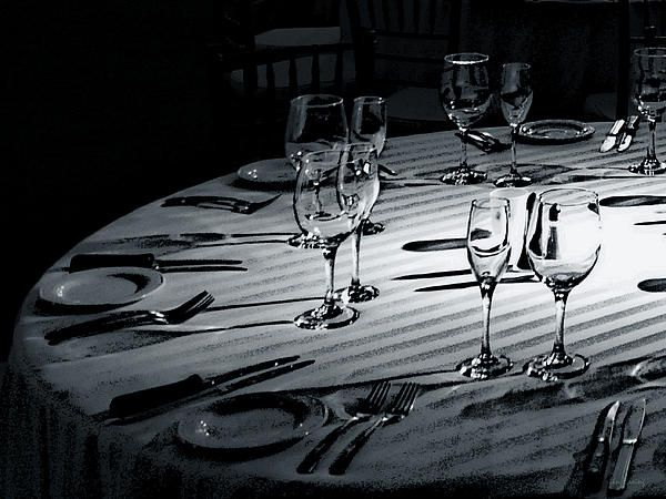 Dining photo by lin haring a formal table setting in black and white