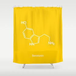 Serotinin Molecuel Shower Curtain http://society6.com/moleculestore/Serotonin-Molecule-K88_Shower-Curtain#35=287 Get happiness for your shower!