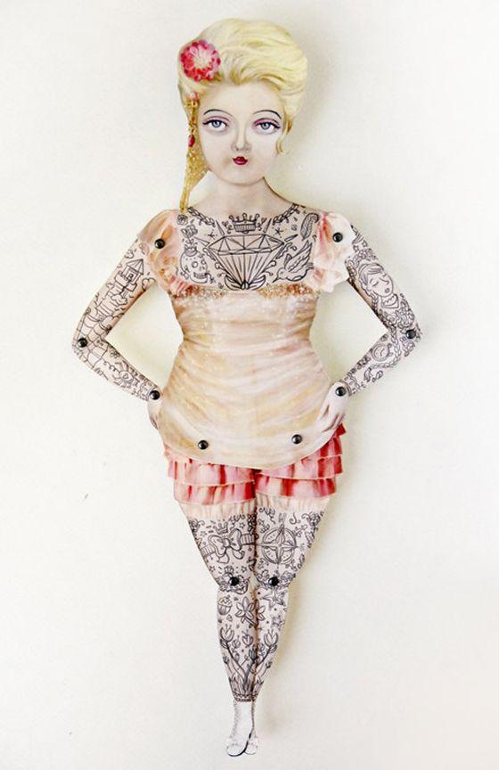 Victorian tattooed paper puppets from Crankbunny (via design crush)