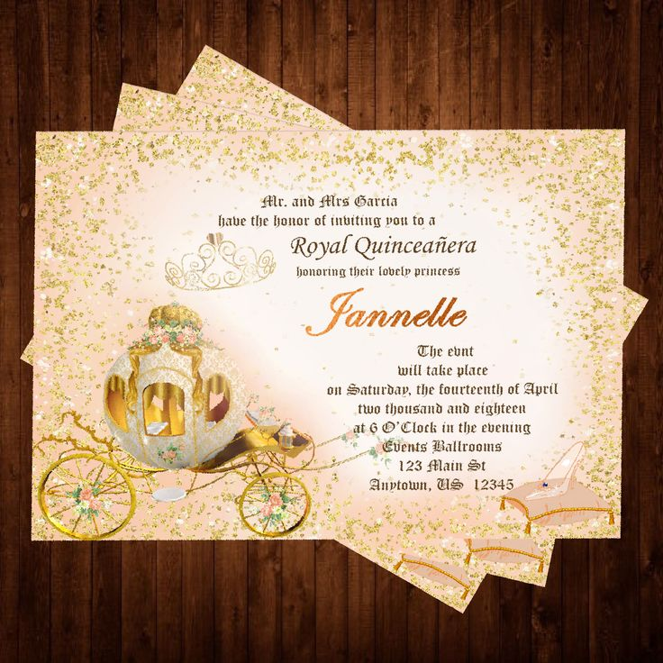 Quinceaera Cinderella Invitation 29 best Invitations Tutus