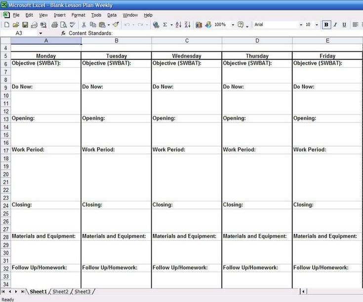Microsoft Excel Lesson Plan Insssrenterprisesco - Monthly lesson plan template free