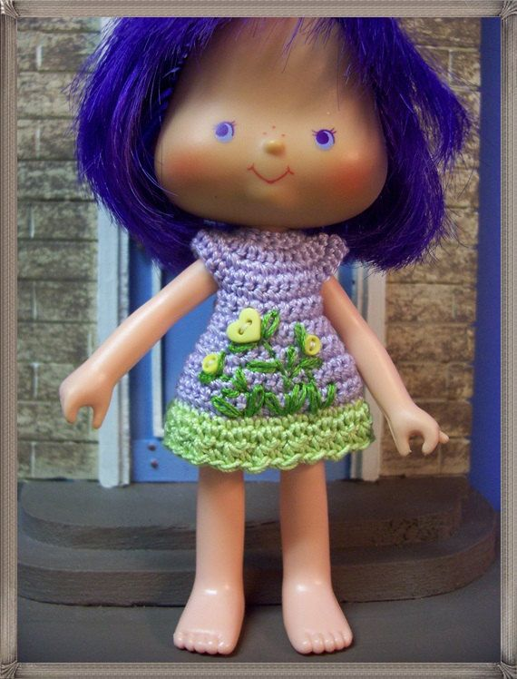 Lavender and Yellow Flowerbed dress for Almond Tea/Strawberry Shortcake dolls
